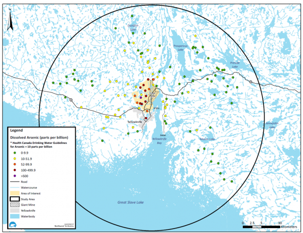 Map of Arsenic Concentrations Measured in Water Bodies in the Yellowknife area